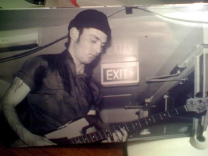 Paul Cormack playing bass with Crow at the Palace Hotel in 1988.